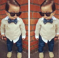 2Pcs Baby Boys Long Sleeve Shirt + Braces Jeans Set Kids Casual Clothes Outfits