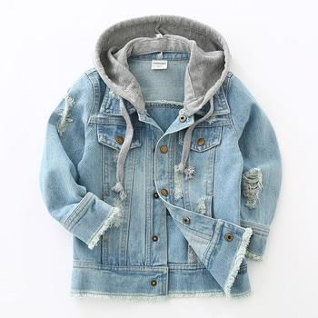 New 2019 Baby Boys Denim Jacket Classic Zipper Hooded Outerwear Coat Spring Autumn Children Clothing Kids Jacket Coat
