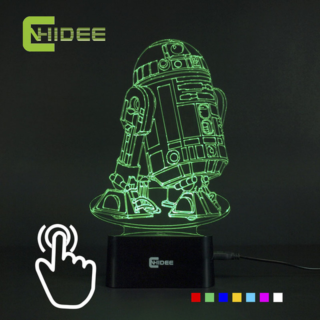 CNHIDEE USB Novelty 7 Colors 3d Lampara Night Light Star Wars R2D2 Robot  Led Lampara As