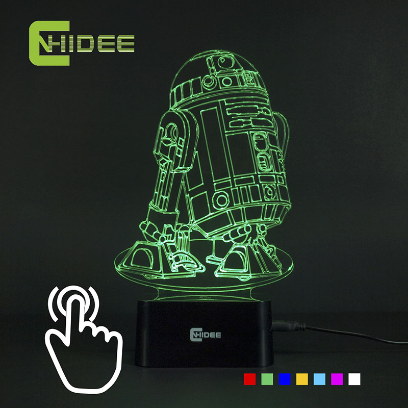 CNHIDEE USB Novelty 7 Couleurs 3d Lampara Night Light Star Wars R2D2 Robot Led Lampara comme Chambre Luz Nocturna Table Lampe de Lecture