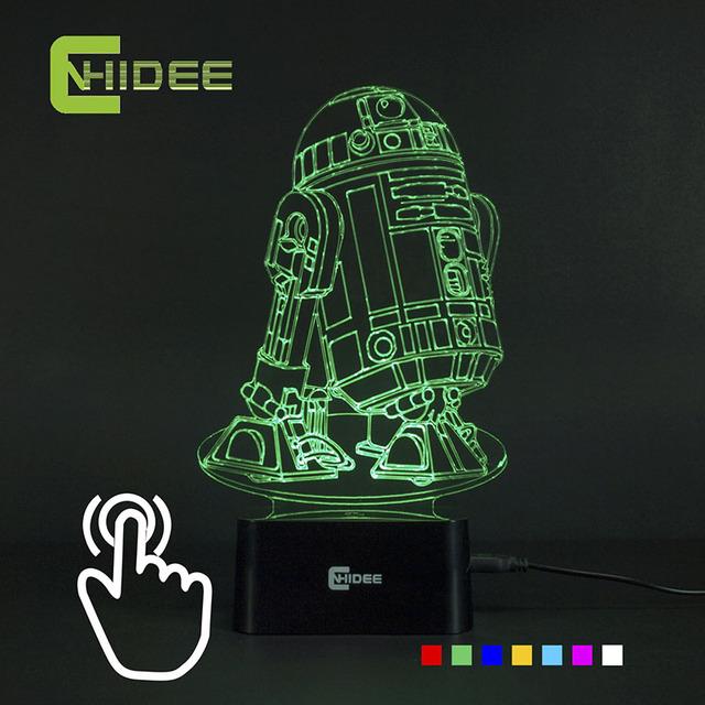 Cnhidee USB novidade 7 cores 3d Lampara Night Light Star Wars R2D2 robô Led Lampara como quarto Luz lâmpada de leitura de mesa Nocturna