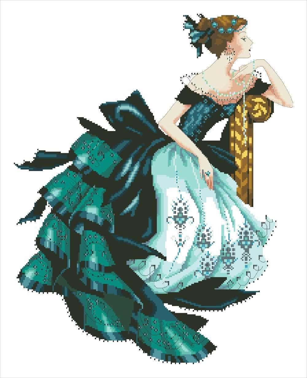Robe verte dame point de croix paquet sexy beauté femmes 18ct 14ct 11ct tissu coton fil à broder couture à la main travaux manuels