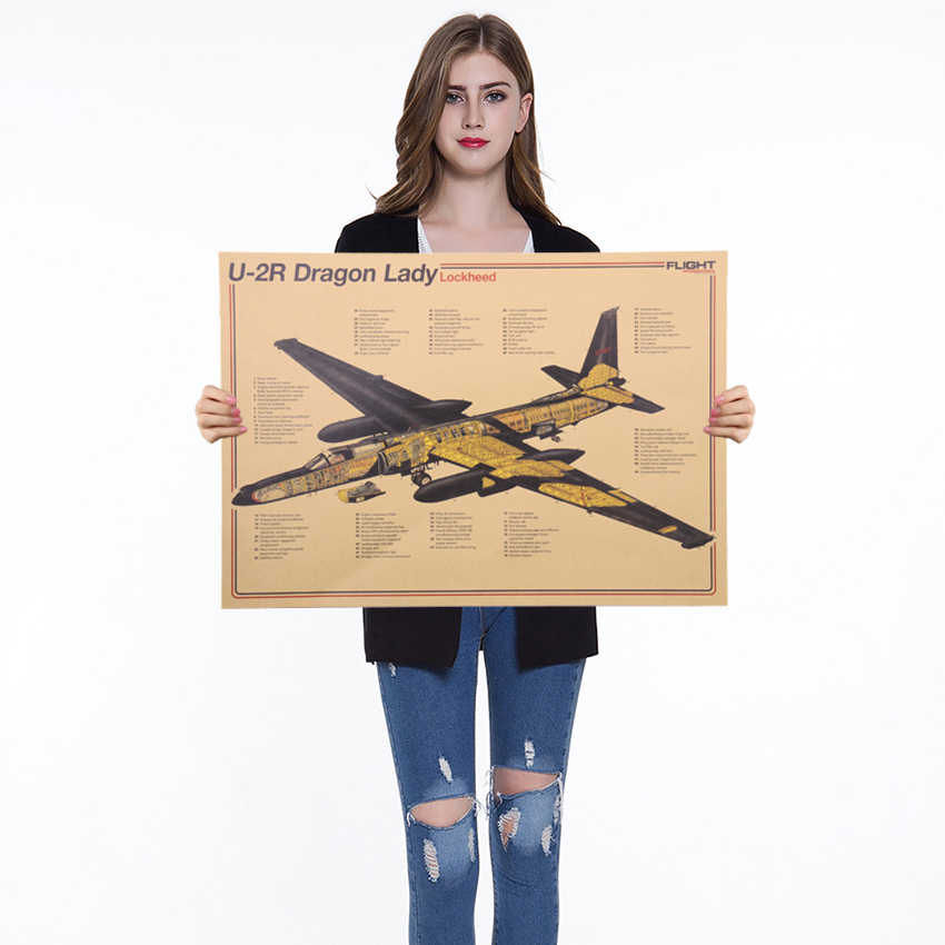 Vintage Nostalgic Aircraft Structural Design Poster Home Decor Wall Sticker Retro Kraft Paper Decorative Painting 51X36cm