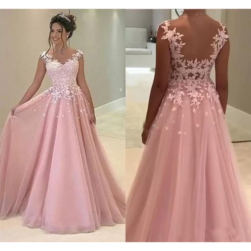 2019  Pink Prom Dresses Sheer Neck Sweep Train Lace Appliques Long Formal Evening Party Gowns