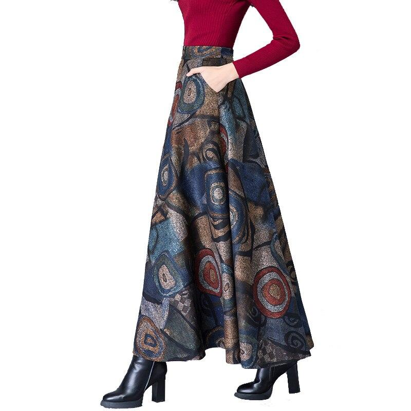 Elegant Autumn Winter Printing Woolen Skirts Womens Jupe Femme Vintage Warm High Waist Wool Skirt Faldas