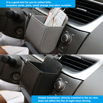 Car Seat PU Back Tidy Storage Coin Bag Case Air Vent Organizer For Tesla Model 3/Volkswagen/Ford/Audi/BMW image