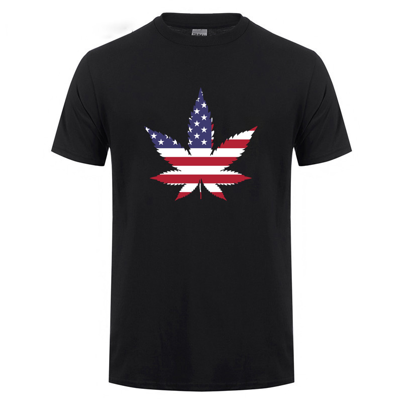 Usa American Flag Weed Leaf Hemp Leaves Patriotic Pot Funny T-Shirt For Man Woman Summer Short Sleeve O Neck Cotton T Shirt Tee