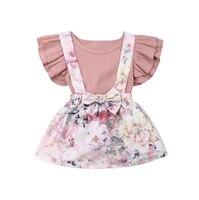 Детская летняя одежда с цветочным принтом для малышей Детская футболка с оборками для маленьких девочек топ, юбка-пачка, платье комплект од...
