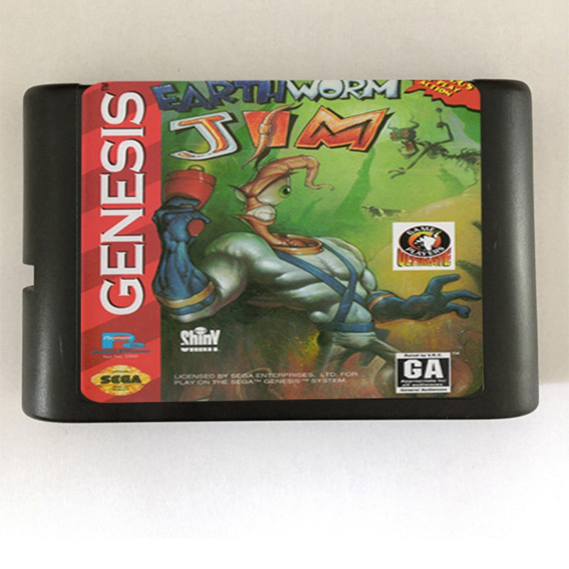 Motiviert Erde Wurm Jim Spiel Patrone Neueste 16 Bit Game Card Für Sega Mega Drive/genesis System Reinweiß Und LichtdurchläSsig Speicherkarten Videospiele