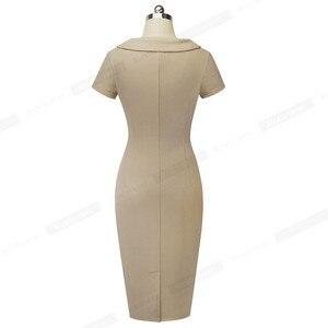 Image 2 - נחמד לנצח בציר אלגנטי מוצק צבע עם כפתור נשי עבודת vestidos עסקים Bodycon משרד נשים נדן שמלת B511