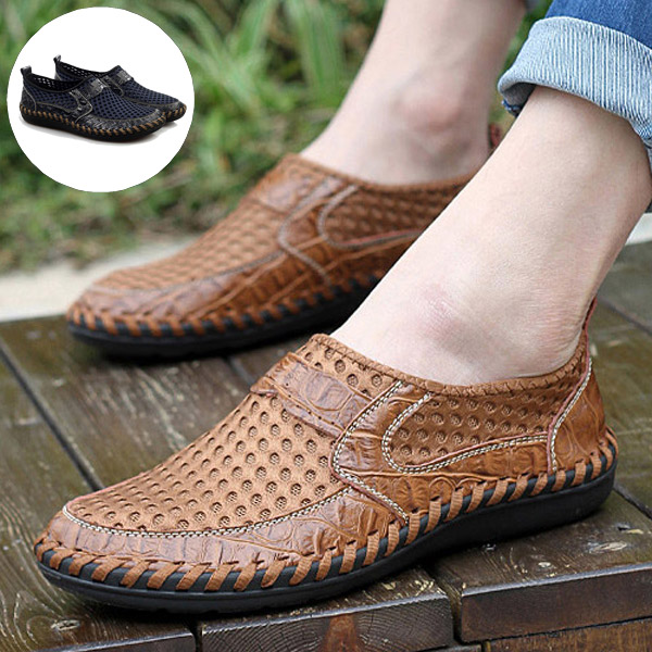 2016 New Summer Style Genuine Leather Mesh Shoes Men Breathable Fashion Casual Soft Loafers Slip-On - Shop1281267 Store store