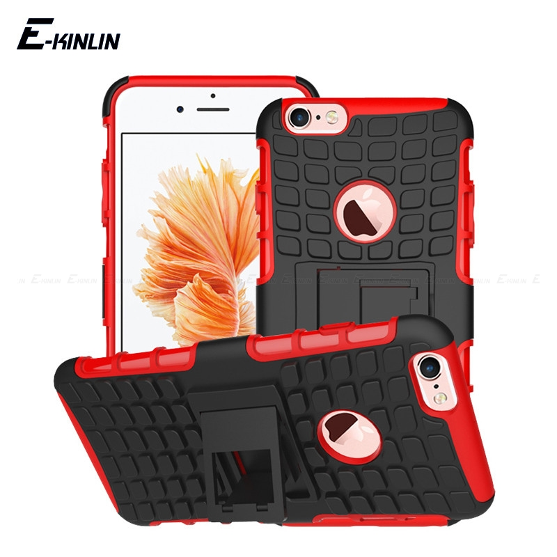 Hard Heavy Duty Stand Holder Silicone Armor Back Cover Shockproof Hybrid Impact For iPhone X 10 Ten 8 7 6 6S Plus 5 5S SE Case