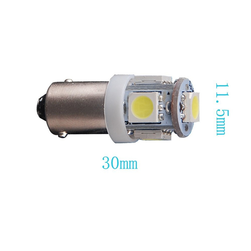 Leites 2PCS BA9S 5050 5SMD 1.2W 6500K 70LM 12V Instrument Lamp Automotive LED License Plate Lights 12v bayonet led bulbs.09