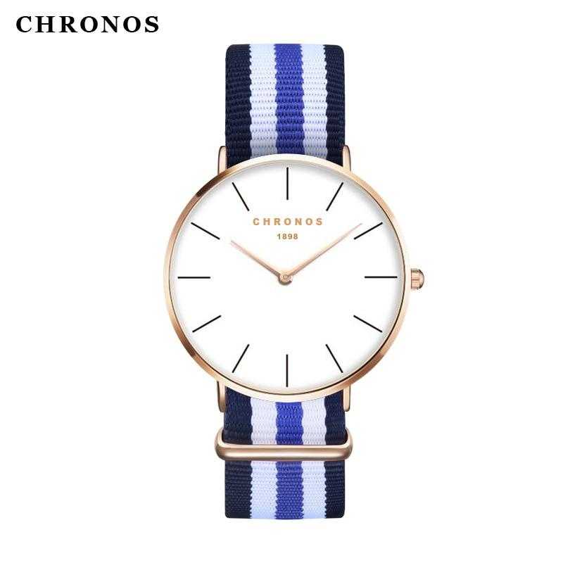 Men Women  Nylon Rose Gold  Watches 2017 Top Brand Luxury CHRONOS Quartz Watch Clock Relojes Mujer Montre zegarki meskie