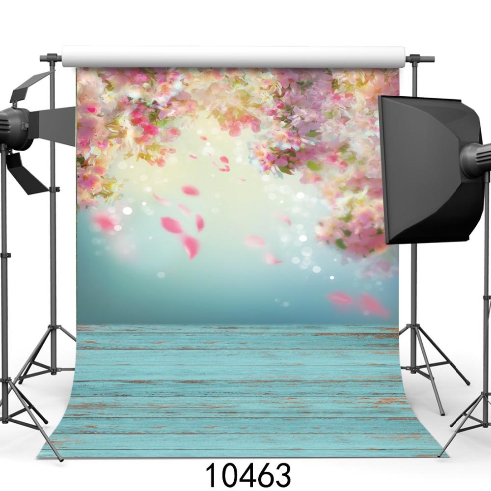 Prix pour Printemps photographie fond pétale peach blossom imprimé bébé photo décors Art tissu nouveau-né bois décors SJOLOON