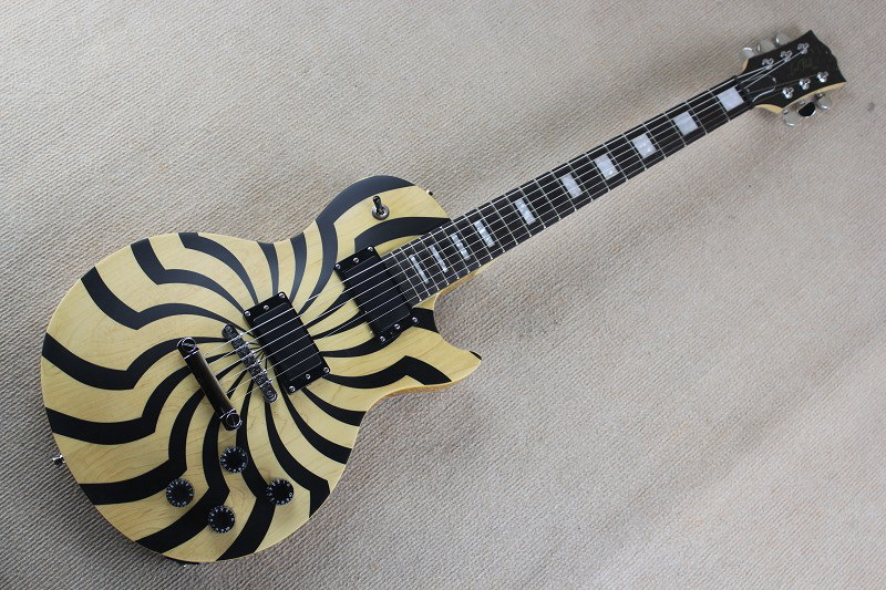 2017 new Top Quality china Custom Musical Instruments ZAKK wylde Electric Guitar Natural wooden yellow +black color windmill 9302017 new Top Quality china Custom Musical Instruments ZAKK wylde Electric Guitar Natural wooden yellow +black color windmill 930