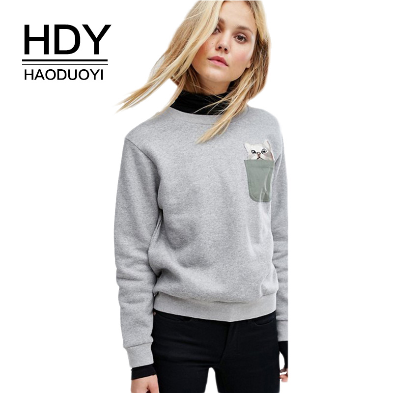 HDY Haoduoyi Pocket Cat Print Hoodies Women Pattern shirts Solid Gray Sweatshirts Full Sleeve Casual Pullovers 2018 Spring Cloth
