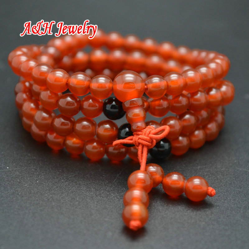 High Quality Red Stone 6mm Round Beads Chinese Knot Decoration 108 Prayer Mala Bracelets Multi-layer Fashion Women Bangles 10pcs
