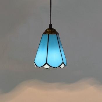 6 Inch Led Light Bar | Mediterranean Blue Modern  Restaurant Art Lighting Bar Terrace Stained Glass Aisle Pendant Lights E27 110-240V 6 Inch 15CM
