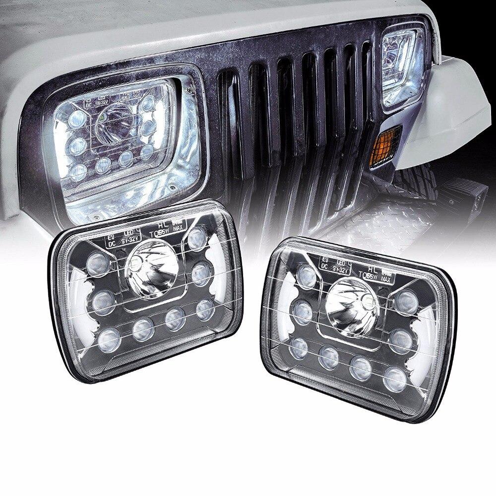 Universal 5x7 7x6 inch 55W LED Headlight with DRL Pair [Plug & Play]  - Sealed Beam Square / Rectangular Headlights Set цена и фото