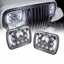 Universal 5×7 7×6 inch 55W LED Headlight with DRL Pair [Plug & Play]  – Sealed Beam Square / Rectangular Headlights Set