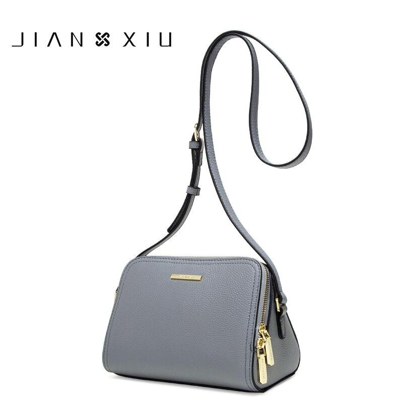 JIANXIU Women Genuine Leather Bag Female Shoulder Crossbody Bags For Women Purse Litchi Texture Double Zipper