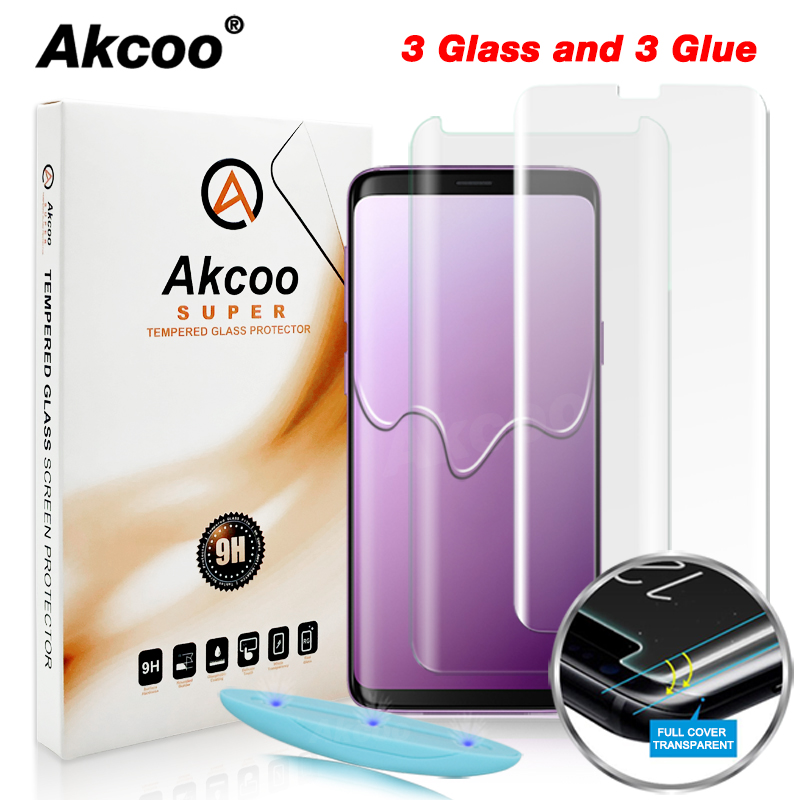 Akcoo S8 Screen Protector With Liquid UV Full Glue Glass Protector For Samsung Galaxy S9 S8 Plus Tempered Full Cover Glass Film