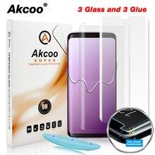 Akcoo S8 واقي للشاشة مع السائل UV الغراء الكامل واقٍ زجاجي لسامسونج غالاكسي S9 S8 زائد خفف غطاء كامل زجاج عليه طبقة غشاء رقيقة