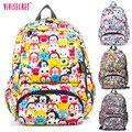 2016 Venda Quente À Prova D' Água Dos Desenhos Animados Tsum Nylon sacos de Escola Primária Mochila para Os Meninos Adolescentes Meninas Graffiti Floral Harajuku