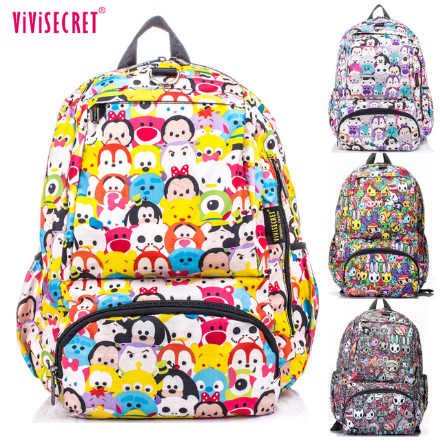 e4a9c76b4c3d 2018 Hot Sale Waterproof Cartoon Tsum Nylon Primary School bags Backpack  for Boys Girls Teenagers Graffiti Floral Harajuku