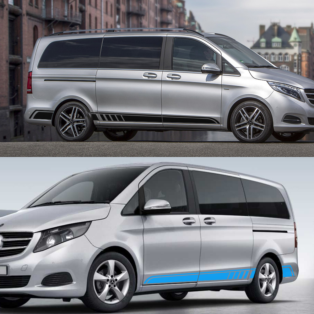 Image 2 - 2PCS/Lot Car Door Side Skirt Stripe Stickers For Mercedes Benz Vito Viano Valente Metris V Class W447 W639 V260 Auto Accessories-in Car Stickers from Automobiles & Motorcycles