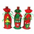 Рождественские Чехлы для бутылок вина Санта мешок для конфет Рождество дерево перчатки кухонные украшения для ужина на Новый год Рождество...