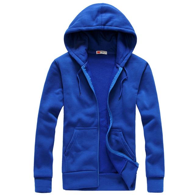Plus Size S-XXL Men's Casual Hoodies Sweatshirt Fashion Solid Sweatshirt Men Hoddies Zipper Coat Men Hoody Jacket