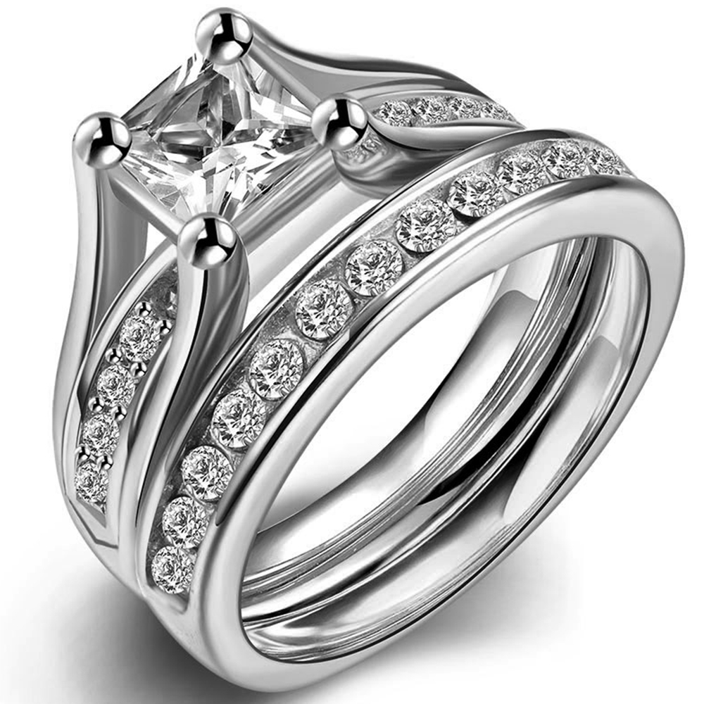size 4 12 stainless steel princess cut engagement ring wedding promise propose statement bridal halo - Princes Cut Wedding Rings