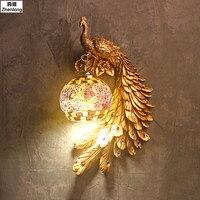 Современные светодиодные лампы Спальня прикроватной тумбочке Лестницы проход Освещение Декор огни Павлин Кристалл Бра Творческий Животны