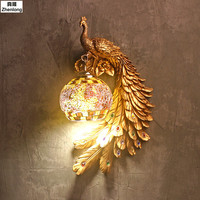 Modern Led Lamp Bedroom Bedside Stairs Aisle Lighting Decor Lights Peacock Crystal Wall Lamp Creative Animals Retro Wall Light