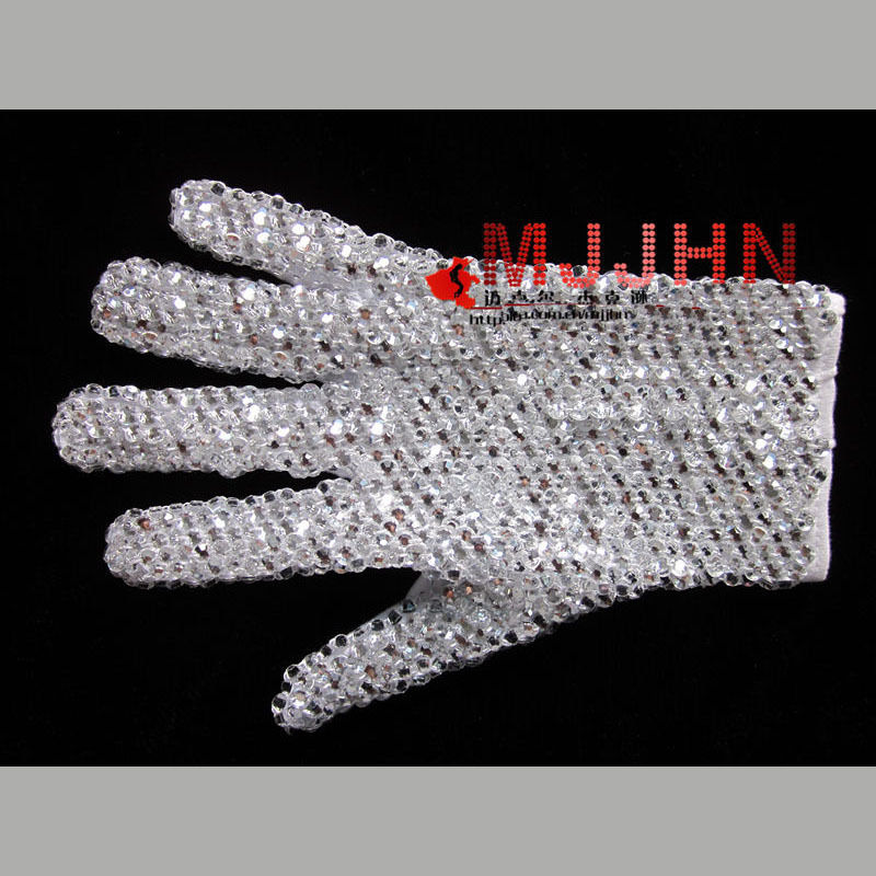 Details About Hand Made MJ Michael Jackson Billie Jean Single Side Shinning Rhinestone Glove