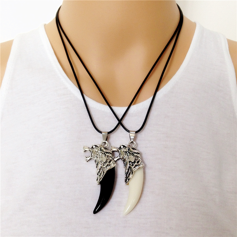 Men Jewelry Women Couple Style Antique Silver Warwolf <font><b>Horn</b></font> Name Masculine Power Wolf <font><b>Tooth</b></font> Necklace image