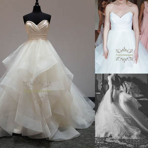 Pleated Organza Wedding Dresses A Line Skirt Simple Design Bride Gowns Short Train Suit for Outdoor Wedding Party