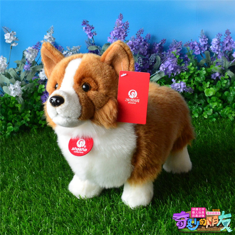 lovely plush Welsh Corgi dog toy high quality brown standing dog doll about 33cm 0250