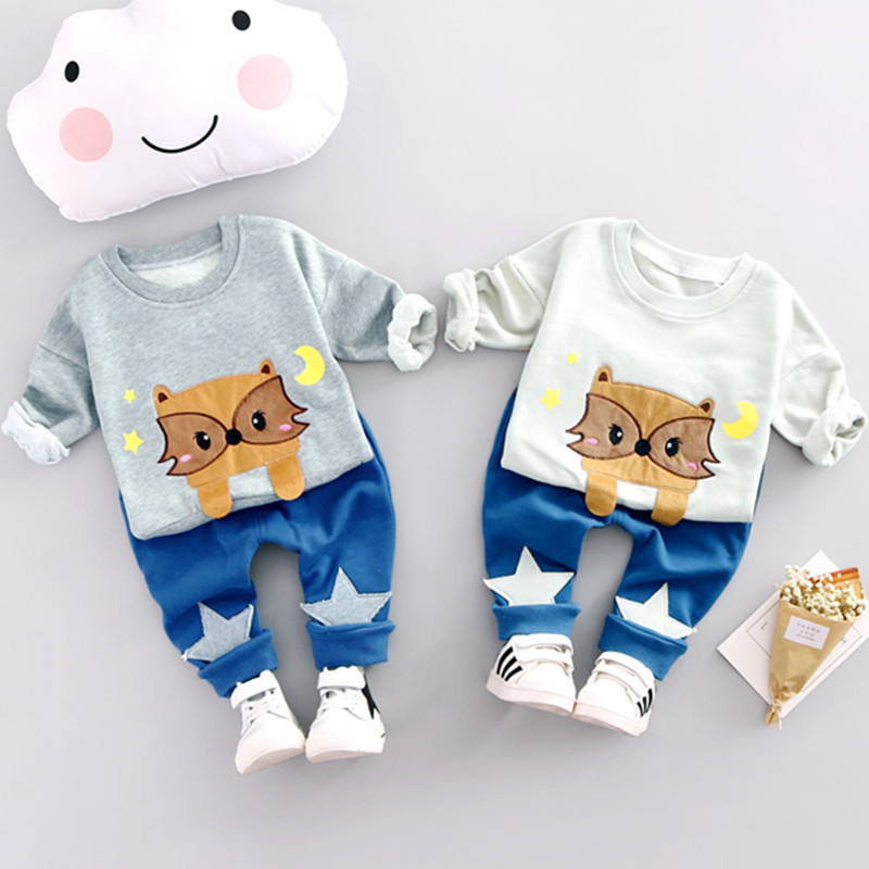 Kids Clothes 2017 Spring Autumn Baby Boys Clothes Cartoon Cat Cotton Set Children Clothing Sets Child