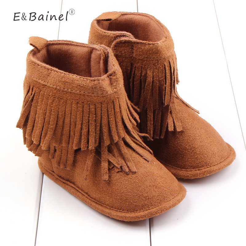 Infant Cotton Soft Baby Girl Shoes Newborn Warm Solid High Top Baby First Walker Toddler Fringe Anti-slip Baby Boots Moccasins
