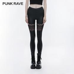 Женские сексуальные леггинсы в стиле панк, готический череп, с вышивкой, резинка на талии, черные, сексуальные, эластичные, искусственная ко...