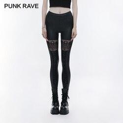 PUNK RAVE Gothic Schädel Bestickt Frauen Sexy Leggings Taille Gummiband Beine Gebunden Seil Schwarz Sexy Elastische PU Leder Gestrickte
