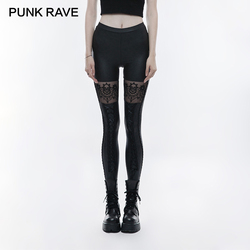 PUNK RAVE Gothic Skull Embroidered Women Sexy Leggings Waist Rubber Band Legs Tied Rope Black Sexy Elastic PU Leather Knitted