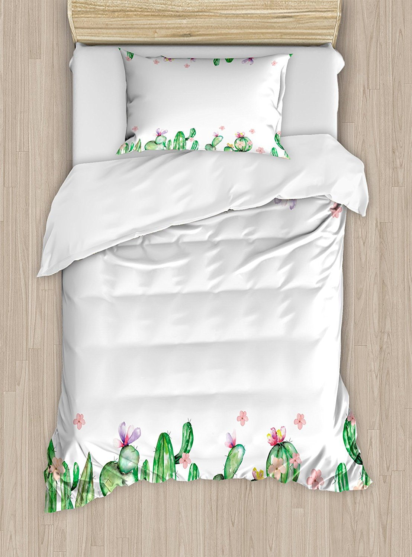 Cactus Duvet Cover Set Mexico Style Romantic Tender Blossoms and Barren Heath Natural Vegetation 4 Piece Bedding Set