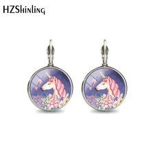 2019 New Fashion Animal Earring Round Glass Cute Unicorn Fancy Clip Earring Jewelry Style Art Handmade Jewelry Gifts Girl(China)