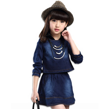 hot deal buy fashion autumn girl clothing sets denim outfits girls clothes sets jeans jackets +shirt patchwork dress 2pcs suits with necklace