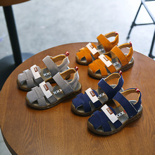 2017 summer new yellow 100% leather childrens leather sandals boys and girls soft bottom beach sandals kids Baotou childrens lea