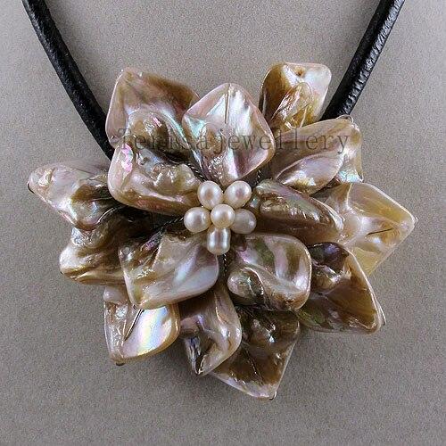 Идеальное ожерелье в виде цветка из натуральной раковины, белое ожерелье из пресноводного жемчуга, ювелирные изделия из черной кожи, новинка - Окраска металла: white shell fower